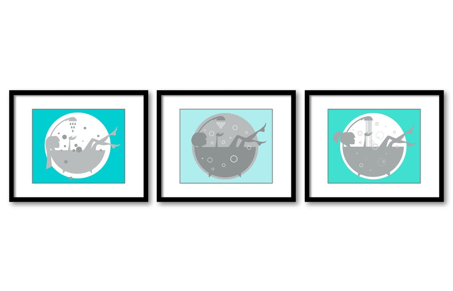 Aqua blue turquoise grey bathroom decor bathroom print girls for Blue and grey bathroom sets