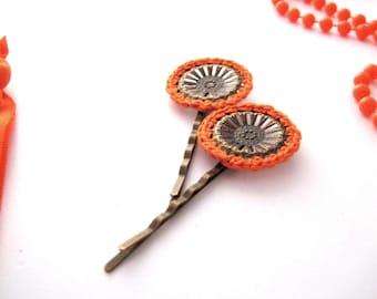 Orange Mandala Hair Slide // Flower bobby pin