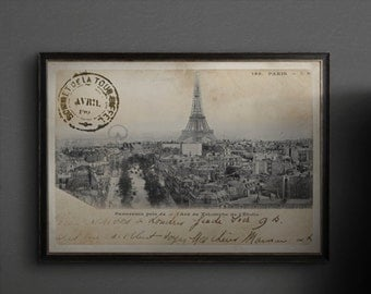Eiffel Tower print : Vintage Eiffel Tower postcard Art Print Poster - Paris France