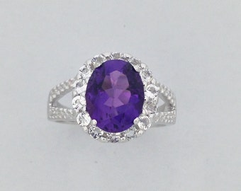 Natural Amethyst with White Topaz Ring 925 Sterling Silver