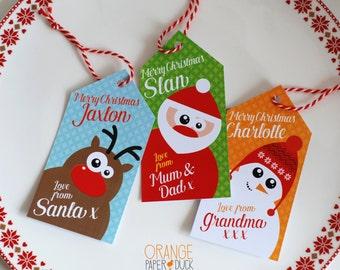 6 X Personalised Christmas Gift Tags * Snowman * Santa * Reindeer