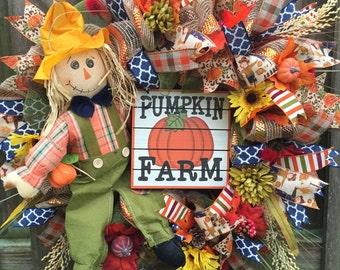 Scarecrow Wreath, Pumpkin Wreath, Fall Mesh Wreath, Fall Front Door, Scarecrow Legs Wreath, Fall Pumpkin Wreath, Fall decor, Front Door