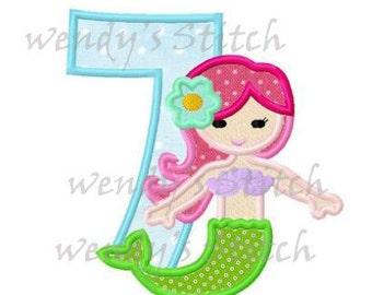 mermaid applique number 7 machine embroidery applique design