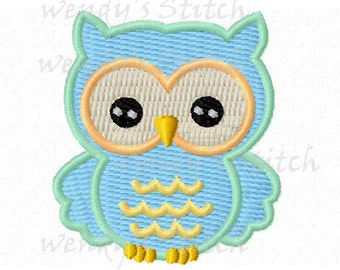 mini owl machine embroidery design instant download