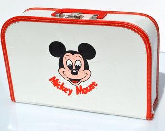 vintage DISNEY MICKEY MOUSE Suitcase lunchbox luggage bag briefcase West Germany Bermas telex 63965