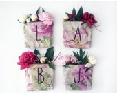 SALE 25% OFF/ BRIDESMAID gift set/ personalized letter make up bag from rosal print fabric storage pouch monogramed wedding souvenir