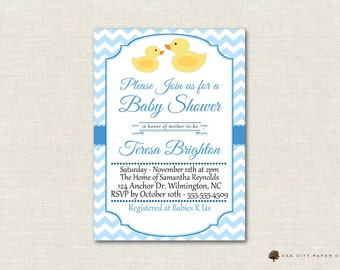 Rubber Ducky Baby Shower Invitation, Rubber Duck Shower Invitation, Ducky Invitation, Rubber Ducky Invitation, Instant Download, Blue, Boy