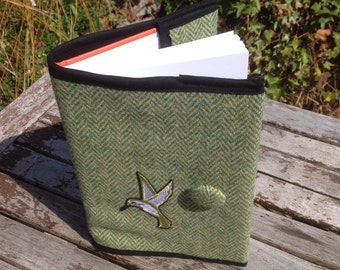 Humming bird Harris Tweed notebook cover - Herringbone, book cover, diary cover,