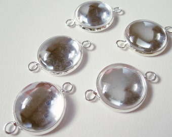 5 - 16mm Silver Plated Round Connector Cabochon Settings w/ glass
