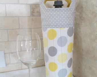 Cute Yellow and Grey Circles Wine Tote Bag
