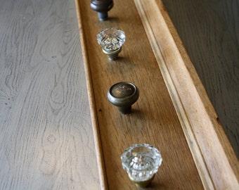 Vintage Tiger Oak Lintel  and antique doorknob coatracks