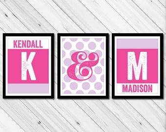 Twin girls nursery prints - sisters wall art - sisters monogram art - girls playroom decor - sisters bedroom decor - sisters playroom art