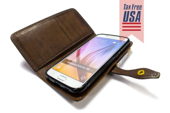 Samsung Galaxy NOTE 8/S8/S8Plus/S7/S7Edge/S6/S6Edge/S6EdgePlus Leather Case Washed Leather Aged with credit card holder FLIP Book col CHOOSE