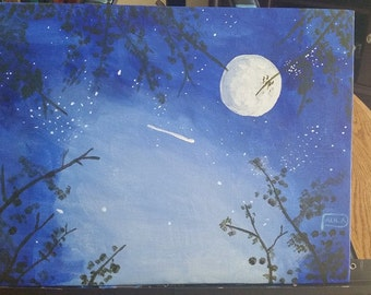 Moonlit Night Acrylic Painting on 9x12 Canvas Panel