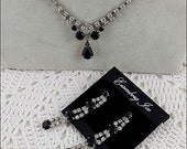 Eisenberg Ice Necklace and Earrings Black and Clear Prong Set Rhinestones Necklace and Matching Pierced Earrings (Inventory #J817)