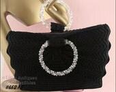 Vintage Black Crochet Handbag with Lucite Handles (Inventory #HB218)
