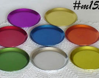 Lot of 8 Vintage Aluminum Coasters in Bright Colors (Inventory #M1559)
