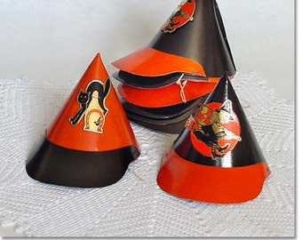 Lot of 8 Vintage Halloween Little Party Hats (Inventory #M2161)