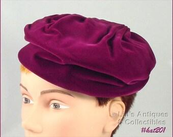 Vintage Wine Color Velvet Hat by Jane Morgan (Inventory #HAT201)