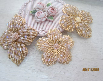 1 Piece -Rose Gold Beaded Filligree Applique/NEB94-Applique/Filligree Pendant
