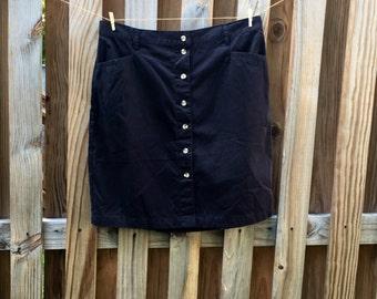 Plus Size: Black Button Front Khaki A-line skirt