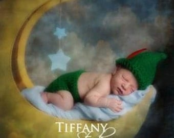 Handmade Robin Hood Hat, Peter Pan Hat, Newborn Infant Crochet Photo Prop, Disney Baby Outfit, Fairy Tale Outfit, Diaper Cover Photo Prop