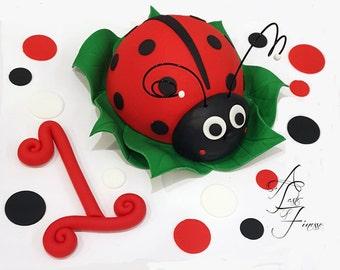 Fondant Ladybug Cake Decorating Kit With Polka Dots, Number, and Banner, Fondant Ladybug Cake Topper, Fondant Ladybug Cake Decorations