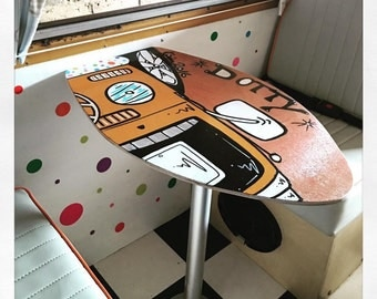 Skimboard table top for camper vans hand painted bespoke designs made to order