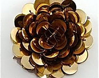 """Flower with Gold High-Rise Sequins  2""""  -5304-1479"""