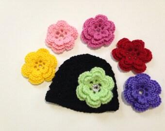 Baby Girl Photo Prop, Newborn Photo Prop, Crochet Flower Hat, Newborn Crochet Hat, Baby Girl Hat, Handmade Crochet Hat