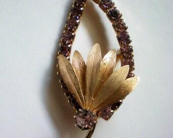 Lavender Rhinestone Leaf Brooch / Pin - 4581