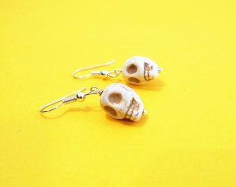 HOWLITE SKULL EARRINGS - surgical stainless steel ear wires - hypoallergenic, sensitive ears earring wires