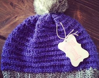 Crochet hat with faux fur