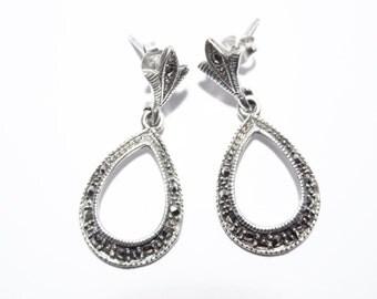 Vintage Sterling Marcasite Dangle Earrings