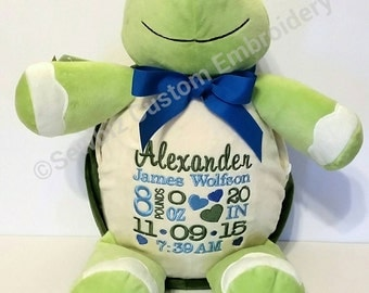 Baby Gift Embroidered Personalized Stuffed Animal Turtle Stuffed Animal Birth Announcement Baptism Gift by Sewbiz Embroidery Too