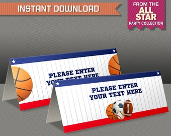 Sports Tent Cards - All Star Party Place Cards - All Star Party Food Labels - Edit and print at home - TWO Designs, same price!