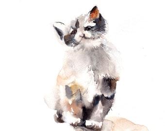 Kitten Watercolor Painting, Original Watercolor Painting, Cat Painting, Cat Art