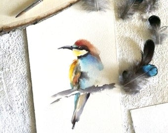 Bird Watercolor Original Painting, Bird Painting, Bird Watercolour Art
