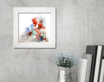 Abstract Floral Painting, Original Watercolor Painting, Modern Watercolour Art