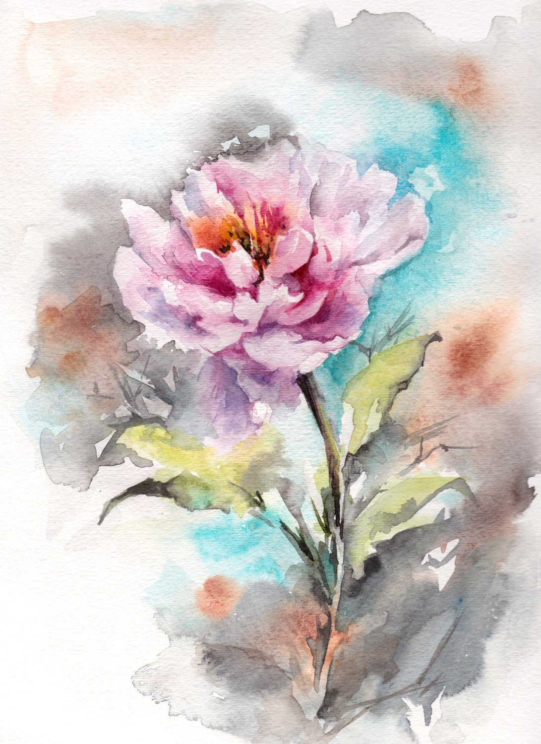 original watercolor painting pink peony painting watercolour
