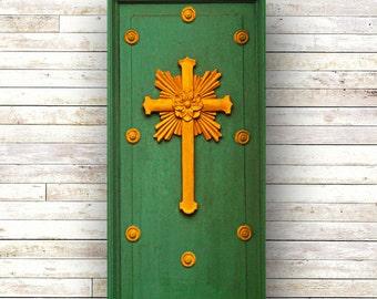New Orleans Art - St. Marys Italian - Architecture - Church Photography - French Quarter - NOLA- Wood Panel - Art Panels -Cross - Doors