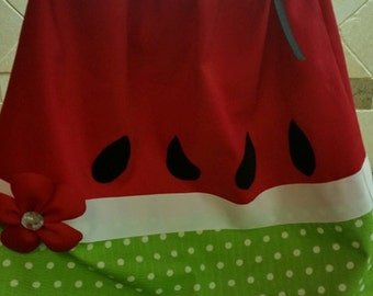 Red Watermelon Pillowcase Dress With Green Accents