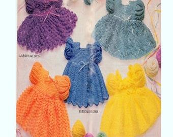 Vintage Crochet Pattern Booklet   Five Crochet Dress Patterns  Baby - Toddler Lace Ripple Scallops Pineapple
