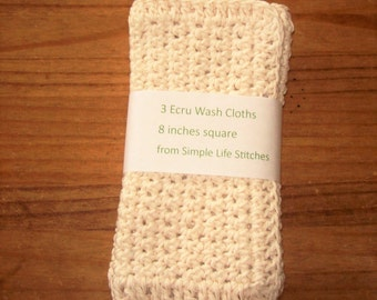Three Crochet Ecru Wash Cloths / Dish Cloths / Cleaning Cloths 8 inches square