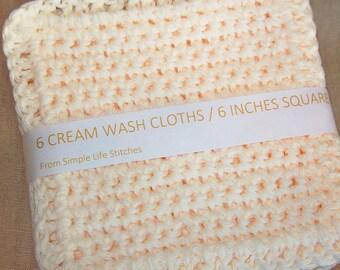 Crocheted Cream Wash Cloths /  Dish Cloths, Set of Six crocheted