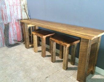 Reclaimed Buffet Table with  Two Stools