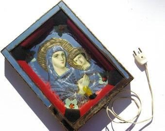 Virgin Mary, Jesus Christ, Religious Wall Lighting, Christian Wall Decor, Religious Icon, Religious Wall Hanging, Catholic Ceiling Lighting