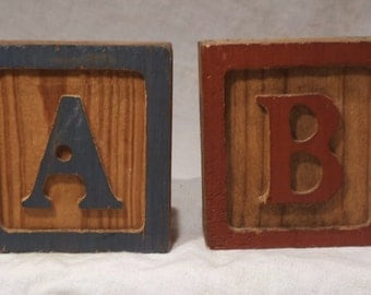 Children's Blocks, Block Letters, Vintage Letters A and B