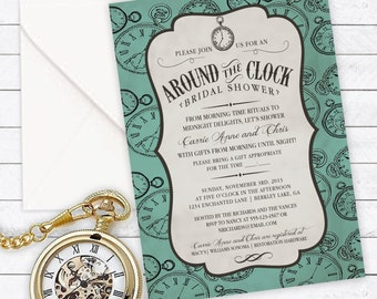 Around the Clock, Bridal Shower Invitation, Couples Shower, Household Shower - Custom Invitation - DIGITAL -  DIY Printable Invitation