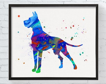 great dane print great dane watercolor great dane art great dane wall decor - Dane Decor